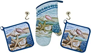 Stories of The Sea Potholders Oven Mitt and Magnetic Hook Hangers - 5 Piece Kitchen Gift Set