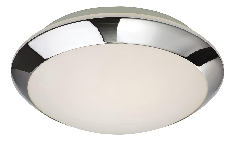 Firstlight Mondo Deckenleuchte bündig E27 IP44 1 x 60 Watt verchromt mit Opalglas 6099CH