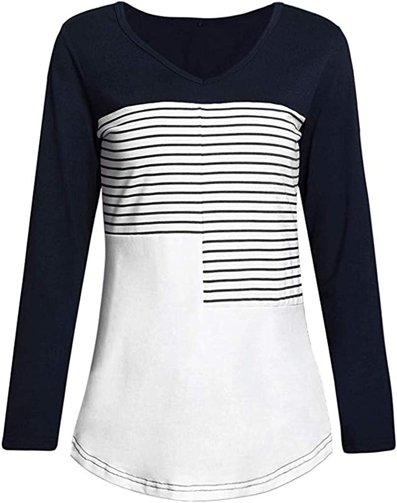 Camiseta Manga Larga de Mujer Patchwork Elegante Color sólido Blusa Blanco Camisa Basica Camiseta Otoño Tops Casual Fiesta T-Shirt Original Chaqueta vpass: Amazon.es: Ropa y accesorios