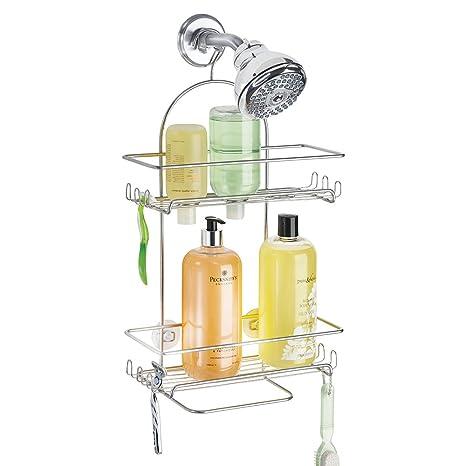 mdesign duschablage zum hngen duschregal ohne bohren montieren duschkorb zum hngen aus metall silberfarbene rostfreie oberflche fr duschzubehr - Duschzubehor Zum Hangen
