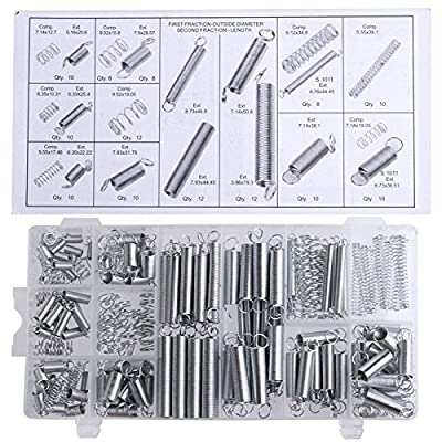 200pcs Spring Assortment Tension Compression Steel Silver for Shops and Home Repairs