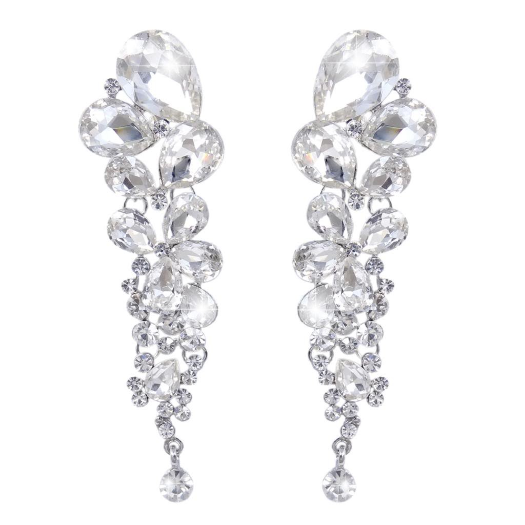 Earrings - SODIAL(R) one pair of Angel Wings Rhinestone Crystal Long Earrings Black I28B0JRWmn