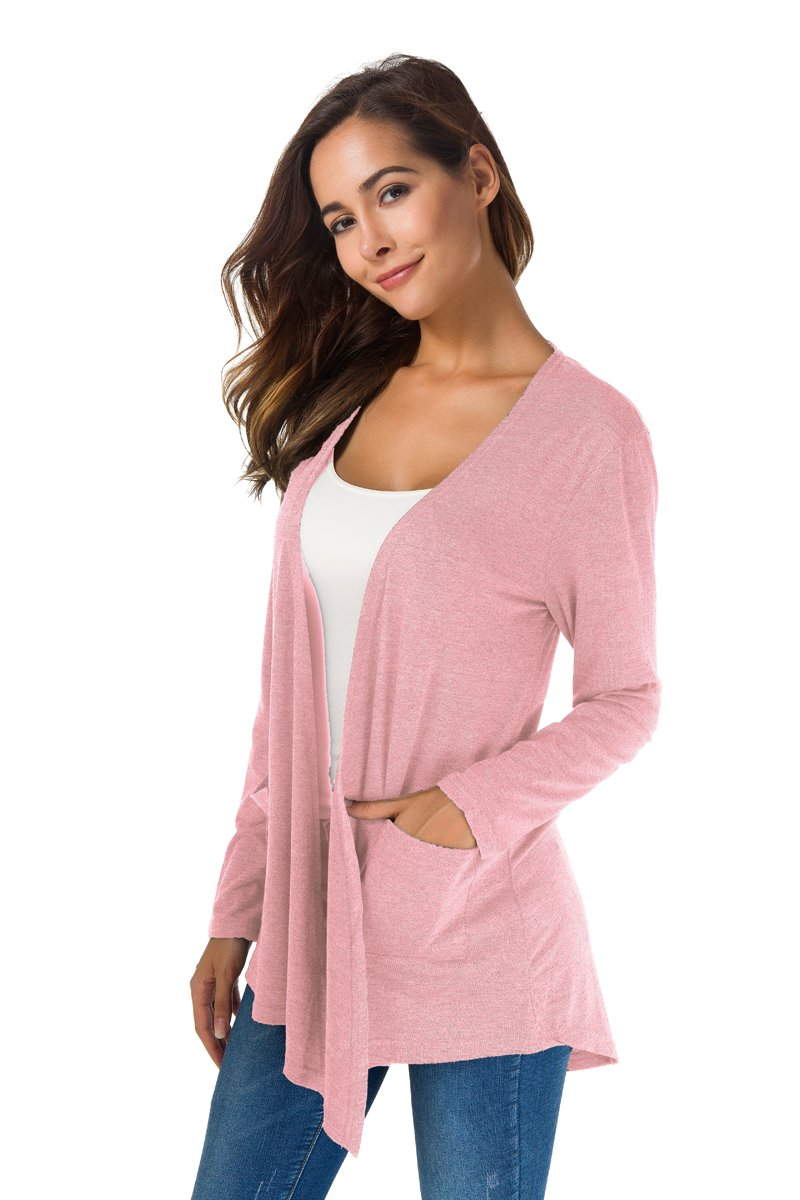 NB Women's Extra Soft Natural Classic Long Sleeve Irregular Hem Open Drape Style Cardigan Pocket (Pink, XL) by NB (Image #3)