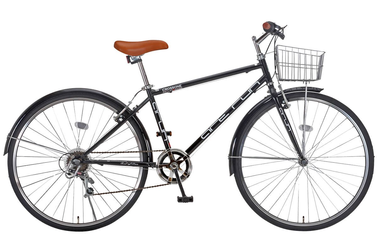 【完成車 組立済み】 ARUN (アラン) ACR-7006 クロスバイク カゴ付き (シマノ製 6段変速 LEDライト ワイヤーロック) ブラック B01JE599ZS