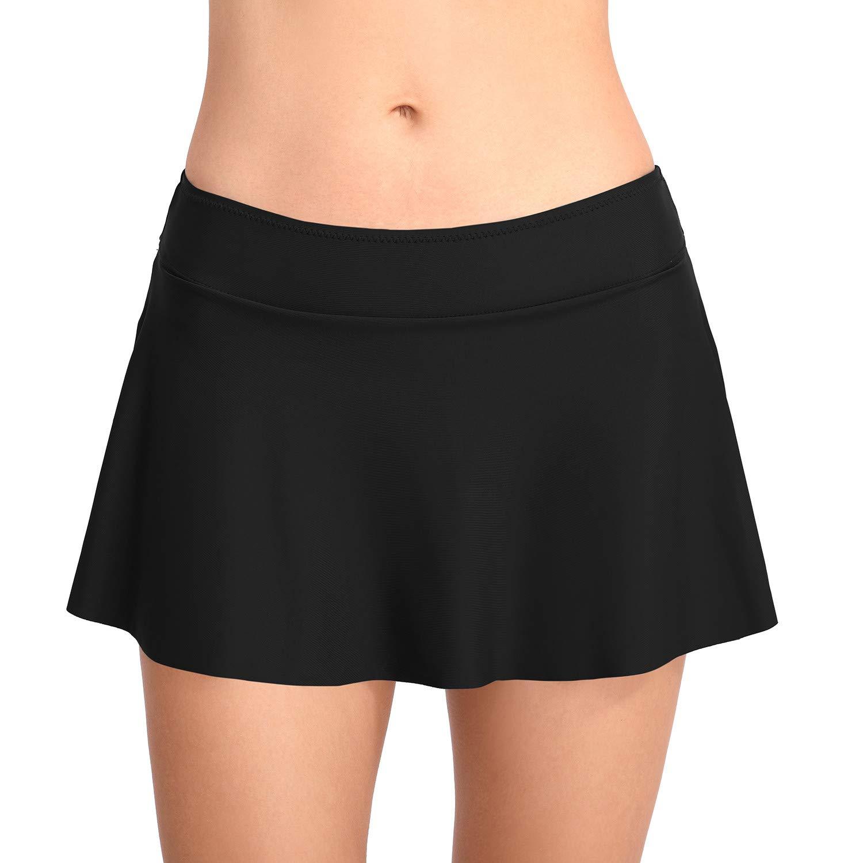 PANAX Damen Baderock mit Unterwäsche in Unifarben - Urlaub Bikinirock Swimwear Tankinihose
