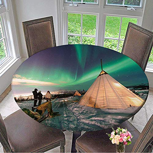 (Mikihome Chateau Easy-Care Cloth Tablecloth Traditional Sami Reindeer Skin Tents (Lappish yurts) in Troms Region of Norway for Home, Party, Wedding 35.5