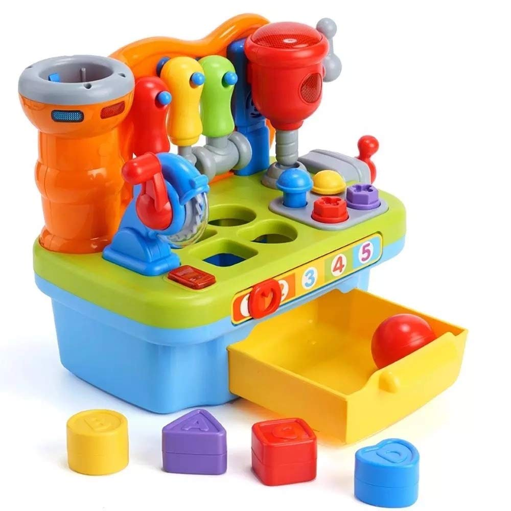 Musical Learning Workbench Toy for Kids Multifunctional Construction Work Bench Building Tools Engineering Sound Effects and Lights, Multiple Handy Tools and Shape Sorter, Great Toy for Boys & Girls