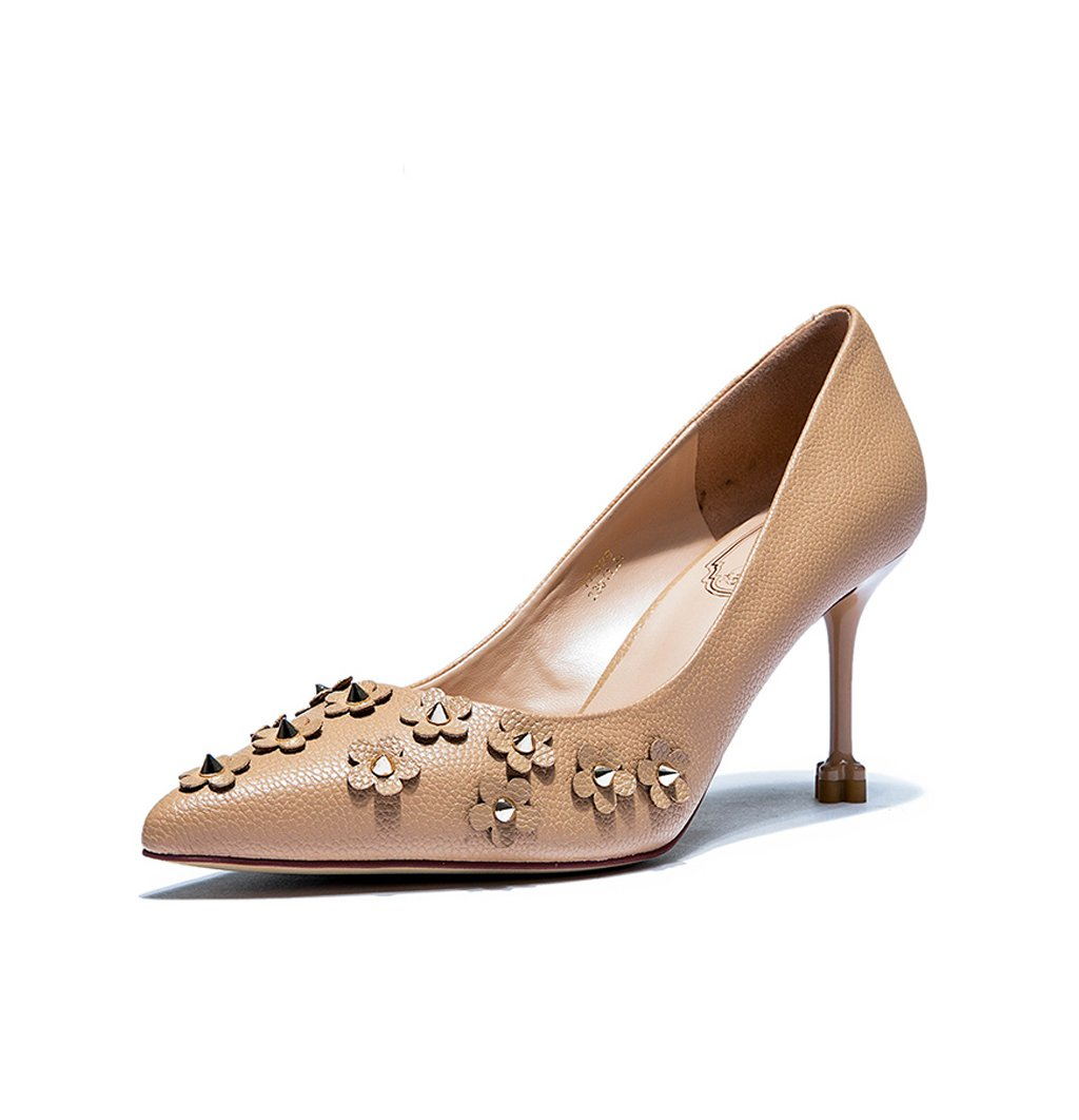 feminine elegant pointed-toe high heel shoes fashion rivets shallow mouth sandals brown wedding shoes sexy feet bare shoes (Color : Brown, Size : 34)
