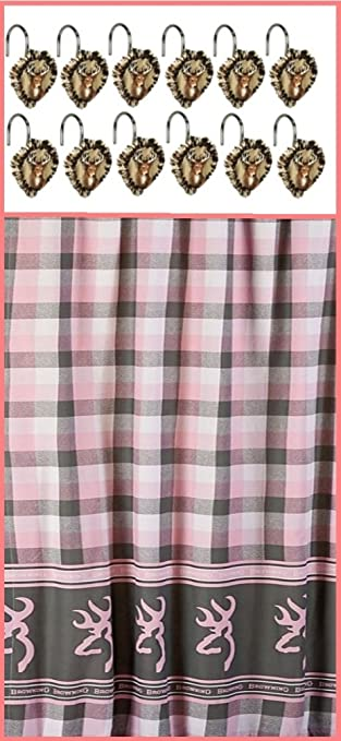 Amazon.com: Browning Buckmark Gray & Pink Plaid Shower Curtain ...