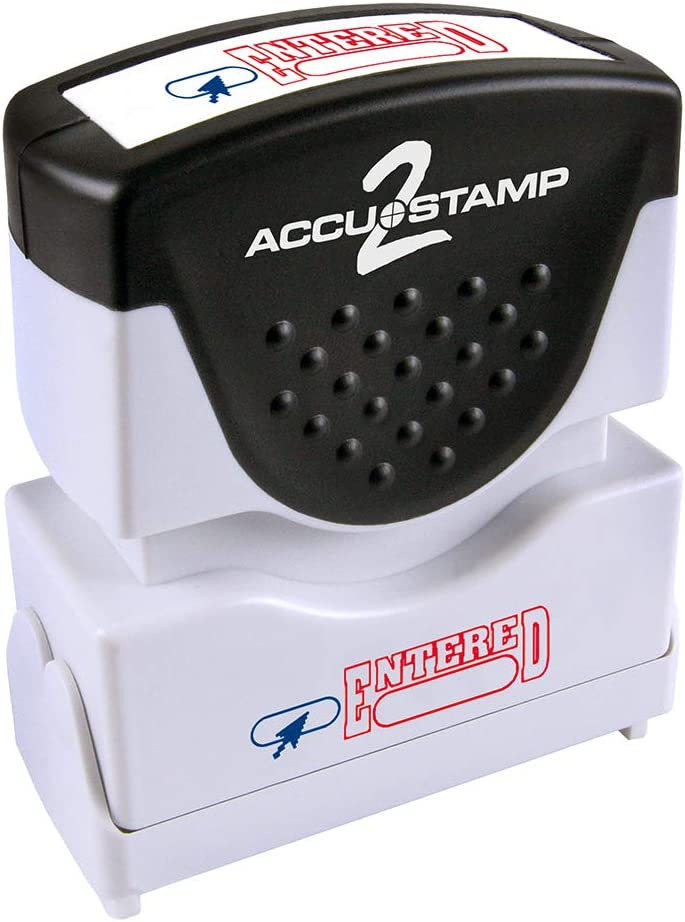 """ACCU-STAMP2 Message Stamp with Shutter, 2-Color, ENTERED, 1-5/8"""" x 1/2"""" Impression, Pre-Ink, Red and Blue Ink (035544)"""