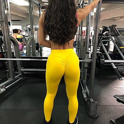 Yying Donna Fitness Leggings Pantaloni Pantaloni Tights Elastici Donne Yoga Pantaloni Giallo Solido Alta Sportivi Jogging Colore Vita Push Up leggins rrUwAnZq