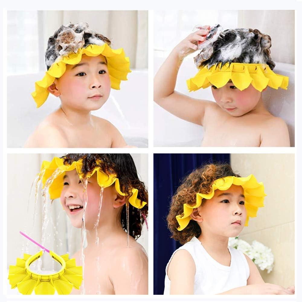 para beb/és y ni/ños peque/ños amarillo 1 gorro de ducha de silicona para beb/é seguro gorro de ducha ajustable impermeable gorro de enjuague