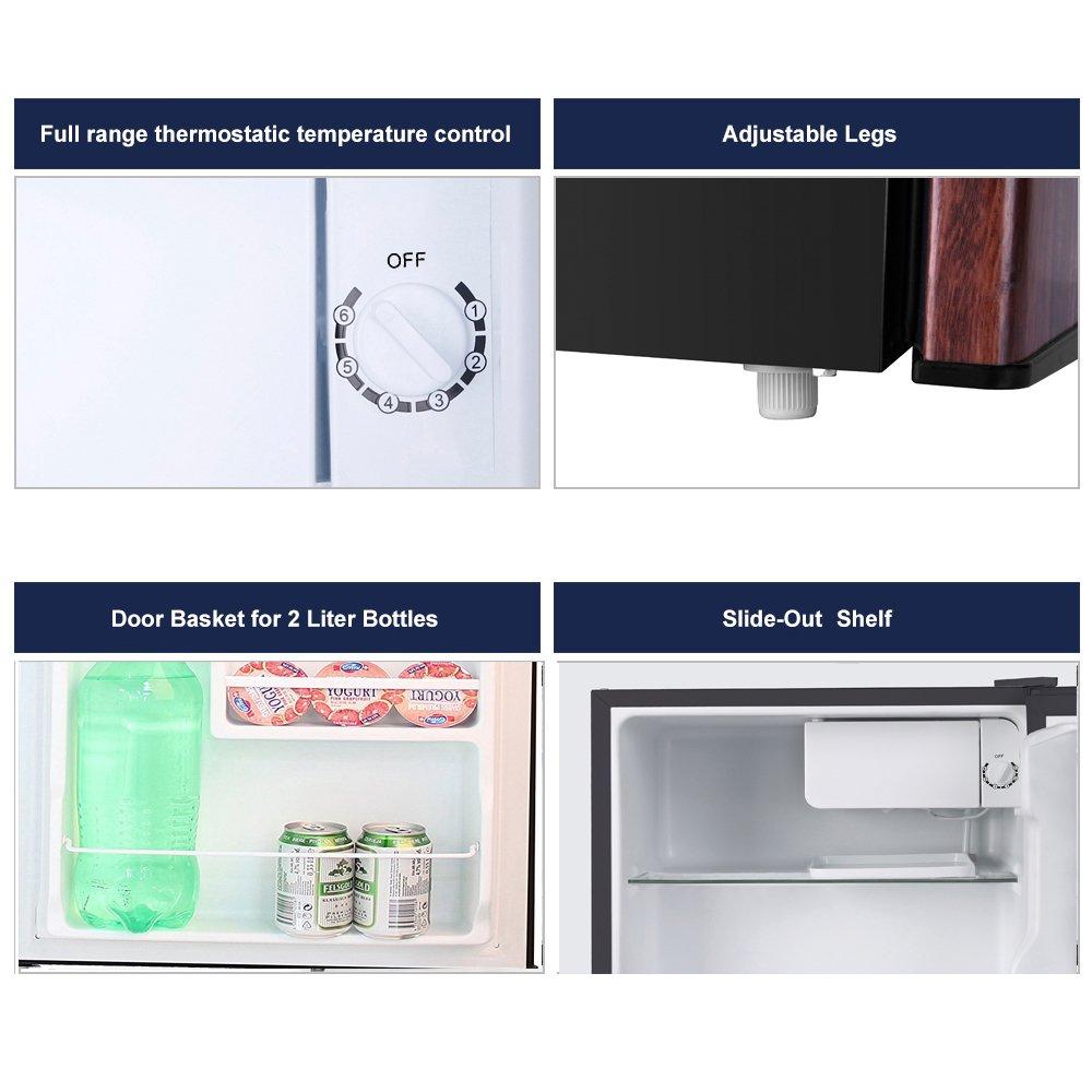 BESTEK Compact Refrigerator Energy Star Single Door 1.6 cu ft. Mini Fridge with Freezer - Wood Grain Finish (UL Listed) by BESTEK (Image #4)