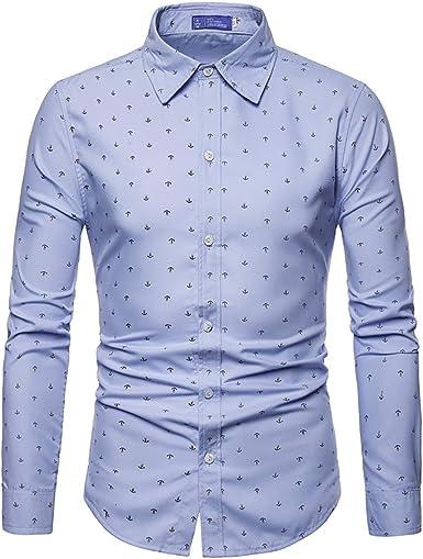AOWOFS - Camisa de manga larga para hombre, corte regular, de algodón, con diseño de ancla: Amazon.es: Ropa y accesorios