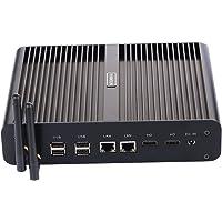 Fanless Mini PC,with Windows 10 Pro/Linux Ubuntu,Intel Core I7 5500U/5550U,(Black),[HUNSN BM02],[64Bit/Dual Band WiFi/2HDMI/4USB3.0/4USB2.0/2LAN/1 Optical/1 SDReader],(16G RAM/512G SSD/1TB HDD)