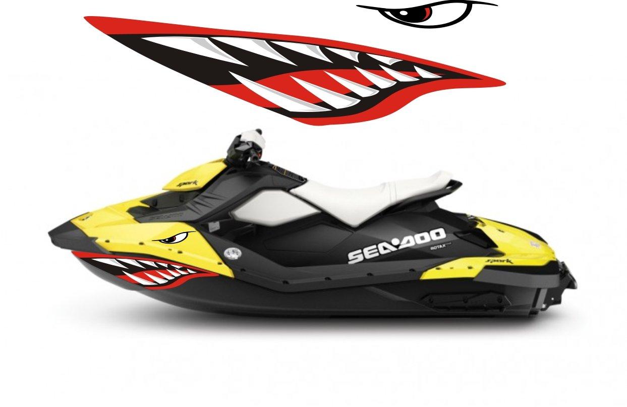 Amazon DECALS101 Sea Doo Bombardier Spark 2 3 Jet Graphic Wrap Jetski Seadoo Shark Mouth JET SKI Sports Outdoors