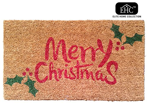 Merry Christmas & Holly Decorative Rubber/Coir PVC Backed Doormat in Red & Green 40 x 70 cm
