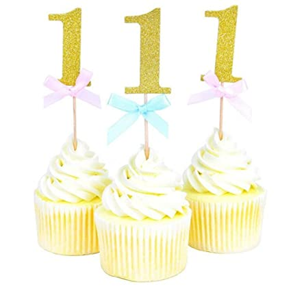 20 Pieces First Birthday Cupcake Toppers 1st Boy Girl Party Decorations I AM ONE 1 Year Blue Pink Bow Gold Paperboard Cake Amazoncouk