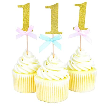 20 Pieces First Birthday Cupcake Toppers 1st Boy Girl Birthday Party