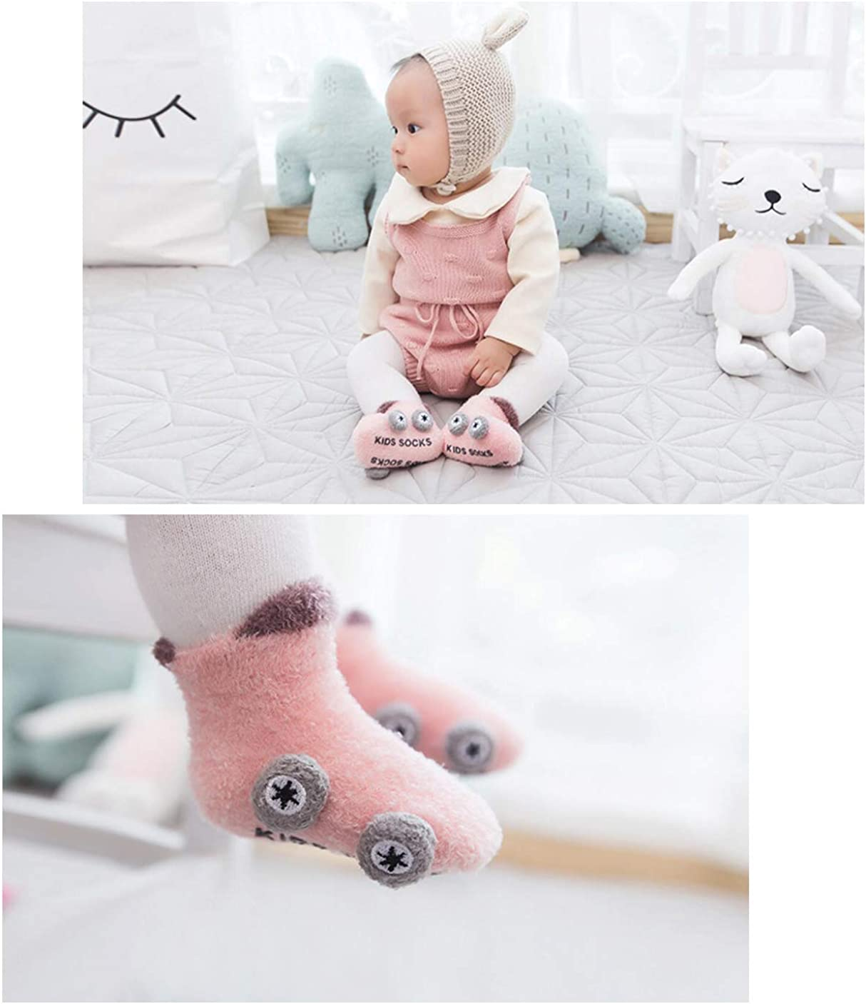0-3 Years Gift for Infant Toddler Baby 2 Pairs Baby Thick Cotton Socks Soft Elastic Warm Cute Colorful Breathable Anti-Slip Socks Set for Baby Girl Boy