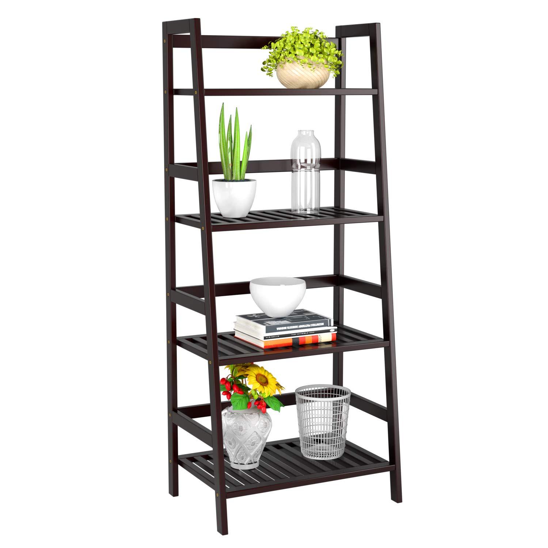 Homfa Bamboo 4 Shelf Bookcase, Multifunctional Ladder Shaped Plant Flower Stand Rack Bookrack Storage Shelves, Retro Color by Homfa