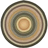 Safavieh Braided Collection BRD308A Hand Woven Blue and Multi Round Area Rug, 8 feet in Diameter (8' Diameter)
