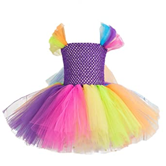 Amazon.com: Fenical Princess Rainbow Tutu Dress for Baby Girls Colorful Mesh Sleeveless Tulle Dress for Girl - 6-7Y: Clothing