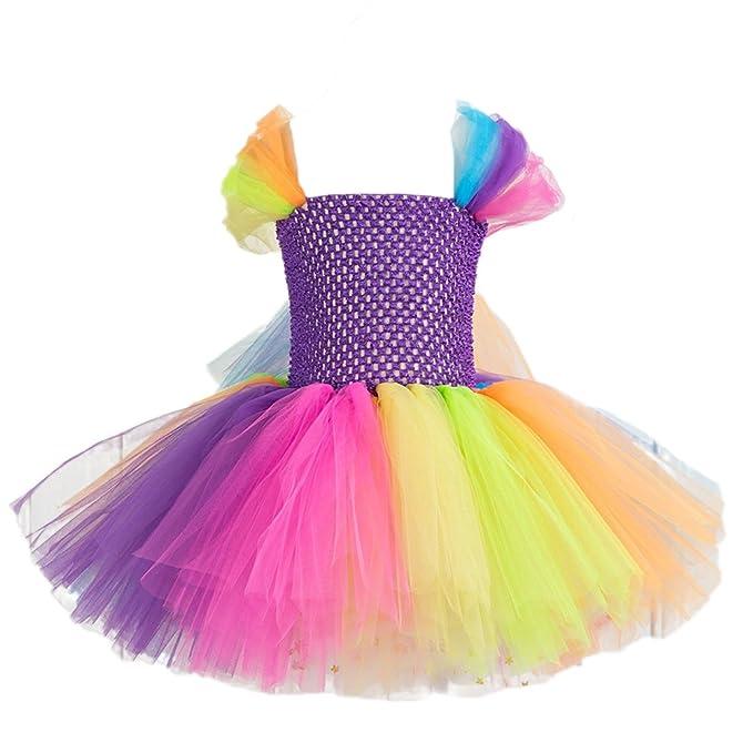 FENICAL Vestido de Princesa Tutu Princess para Niñas Vestido de Tul de Colores sin Mangas para