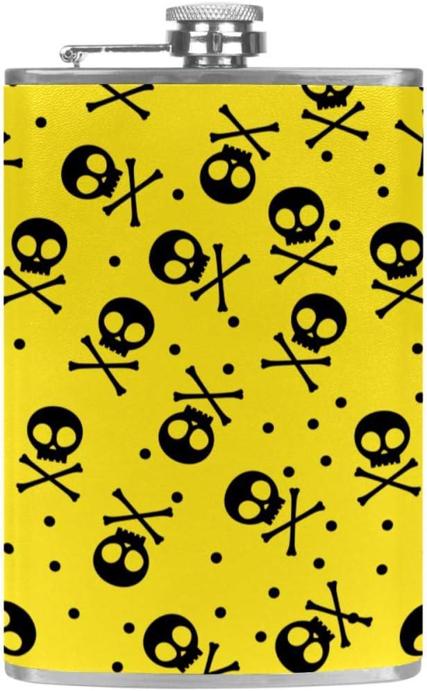 Calavera Amarilla Frasco de la cadera 8 oz con un práctico ...