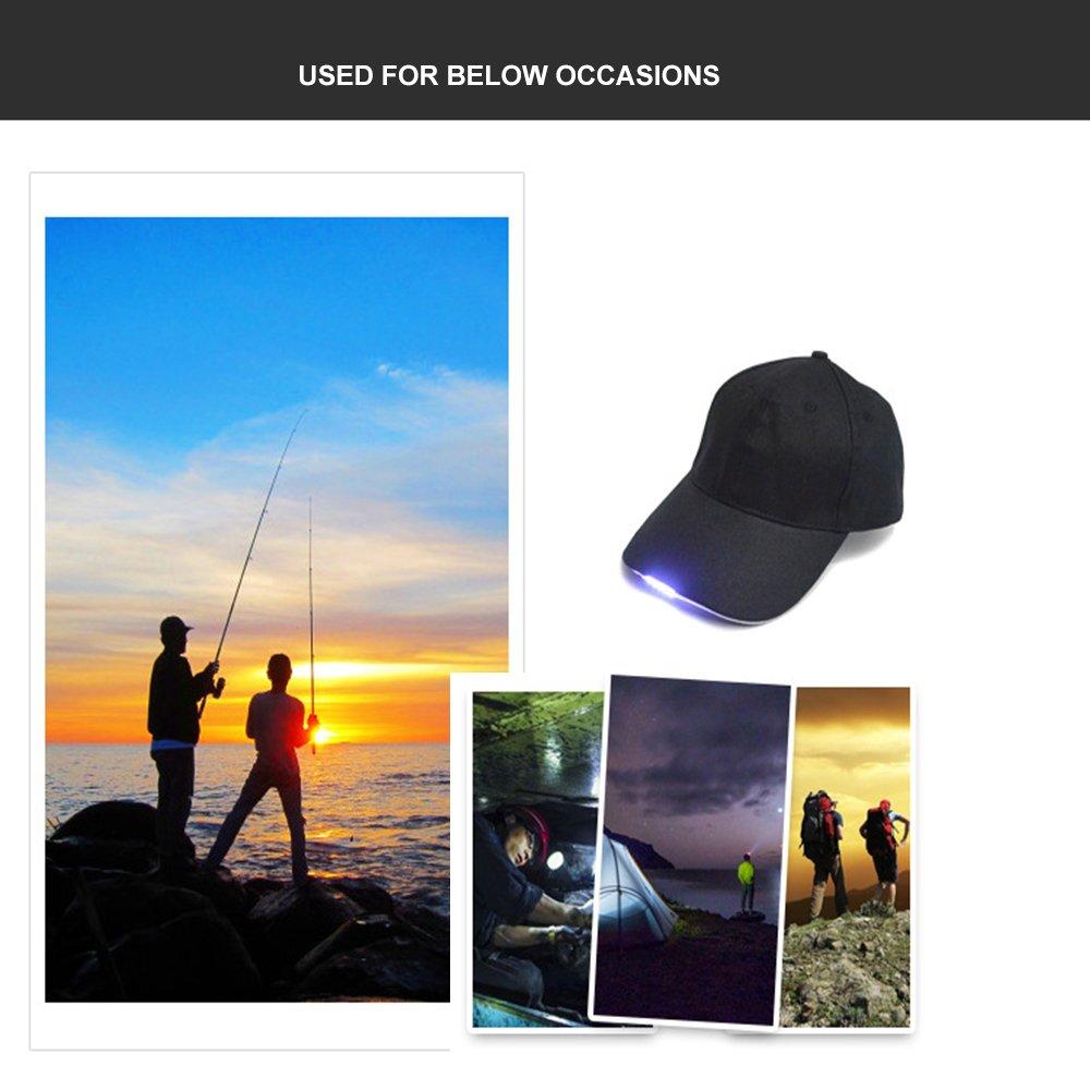 Cappello da Baseball con Luci LED Headlamp per Correre Campeggio Caccia Escursionismo Lettura Lavoro Riparazione Illuminazione Cuitan Lampade da Testa per Uomini e Donne//Cappello Pesca con Visiera