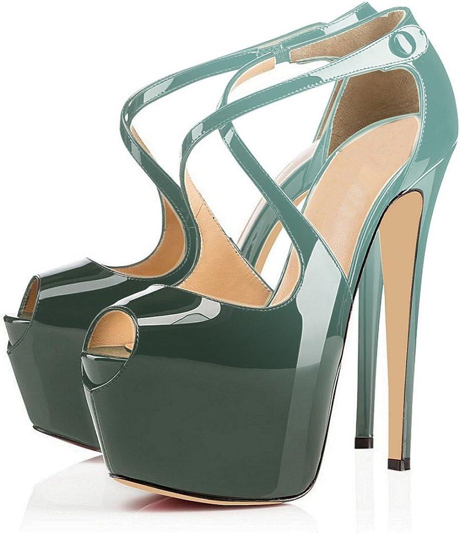 Eldof Womens High Heel Platform Sandals 15cm Cross Strap Peep Toe Pumps 6 Party Dress Stilettos