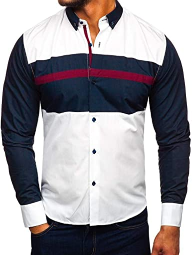 Sylar Camisas De Hombre Manga Larga Camisa De Vestir para Hombre Camiseta De Negocio Manga Larga Camisas De Rayas Slim Fit Casual Camiseta para Hombre Tops Patchwork para Hombre Blusa para Hombre: