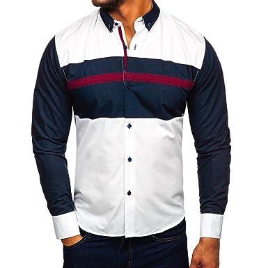 YEBIRAL Camisetas Hombre Manga Larga, Casual Regular Formales ...