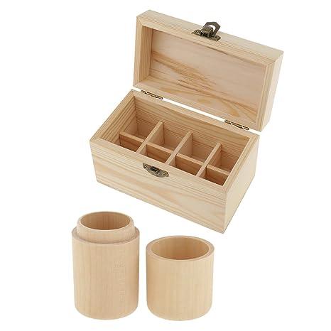 Baoblaze 2 Cajas de Aceite Hecho de Materiales Cilindro + Madera Accesorio de Belleza