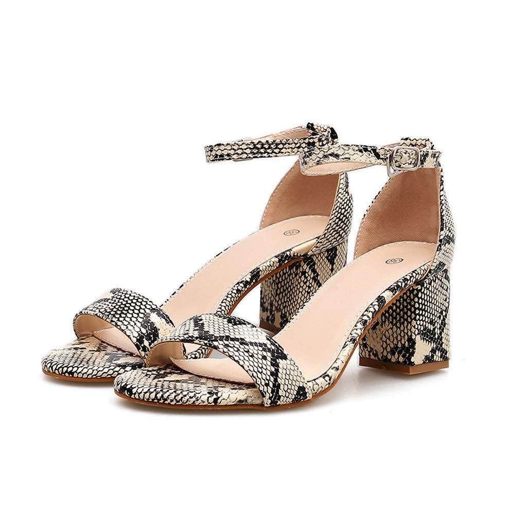 Summer Summer Women Sandals Snake Print Ankle One Word Buckle Sandals Shoes by LUXISDE (Image #2)