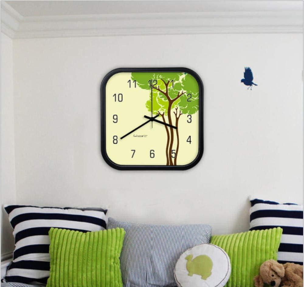XUEJIAN Arte Creativo Reloj de Pared Hogar Sala de Estar Dormitorio Reloj Cuadrado Patrón de árbol Verde Mesa Colgante Reloj de Cuarzo silencioso