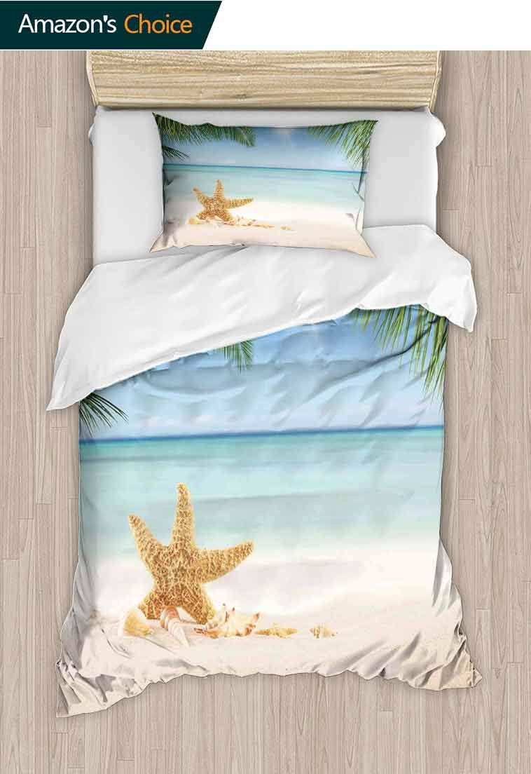 Ocean DIY Duvet Cover and Pillowcase Set, Graphic of Summer Sandy Beach with Majestic Starfish on Tropical Hawaiian Beach, Reversible Coverlet, Bedspread, Gifts for Girls Women, 39 W x 51 L Inches