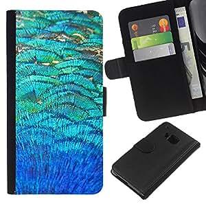 [Neutron-Star] Modelo colorido cuero de la carpeta del tirón del caso cubierta piel Holster Funda protecció Para HTC One M9 [Teal campo abstracto de la naturaleza]