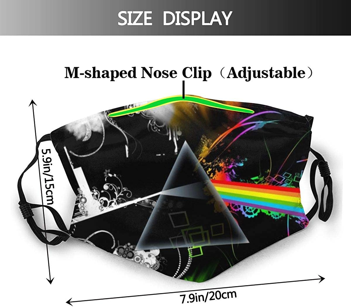 YUDILINSA Face Cover,Abstract Another Brick Dark Floyd In Moon Multicolor Music Of Pink Rock Side The Wall,Balaclava Unisex Reusable Windproof Anti Dust Mouth Bandanas Outdoor Camping With 2 Filters