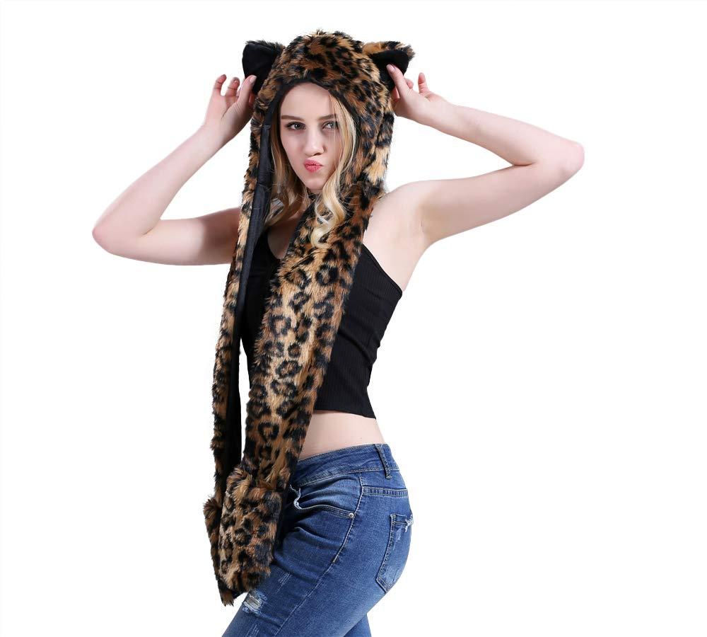 Leopard Full Animal Hoodie Hat 3-in-1 Function Faux FUR