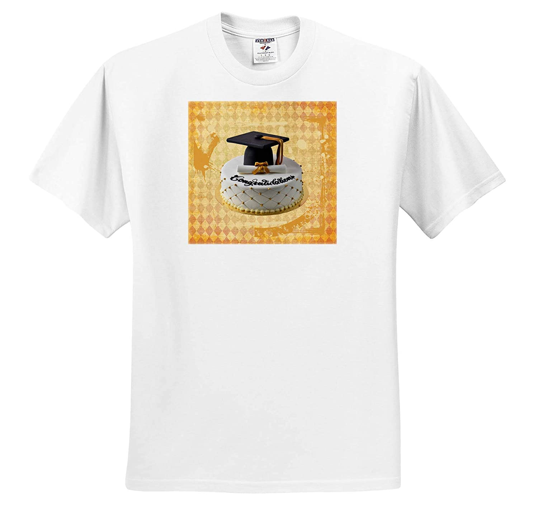 3dRose Beverly Turner Graduation Design Image of Congratulations Graduation Cap Black Orange T-Shirts Diploma Cake