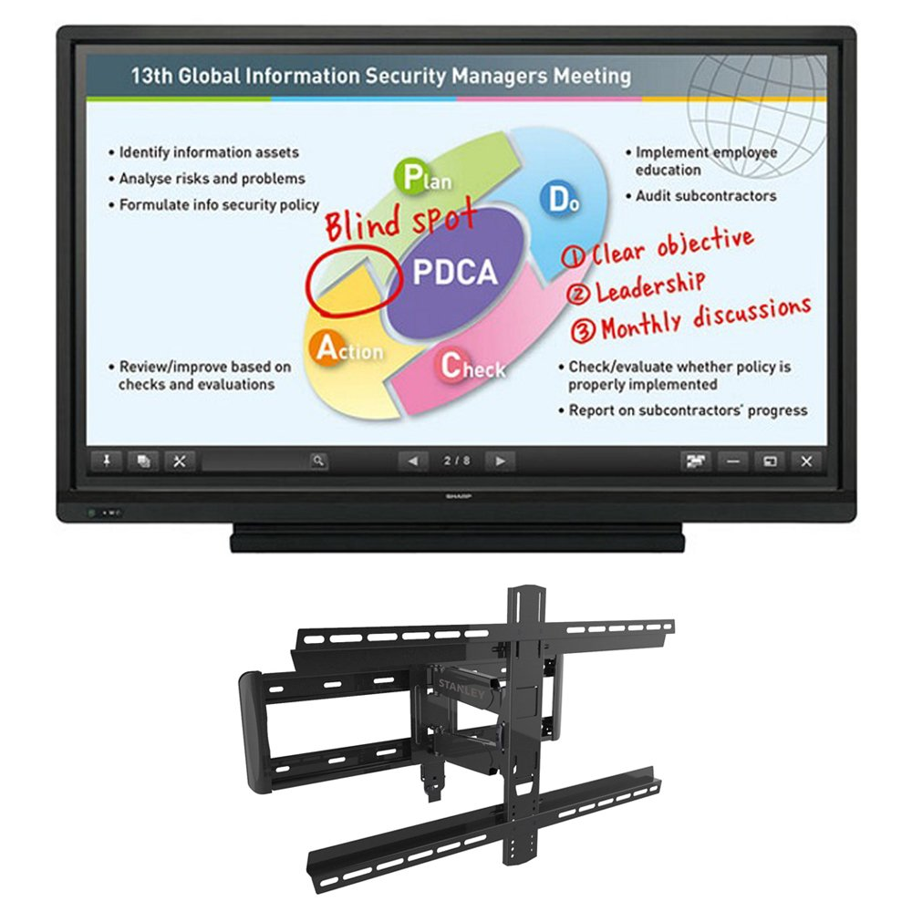 Sharp (PN-L603B) Aquos Board 60'' Edge Lit LED Backlight Interactive Display System w/ Pro Series Large Extension TV Mount for Size 37-90''