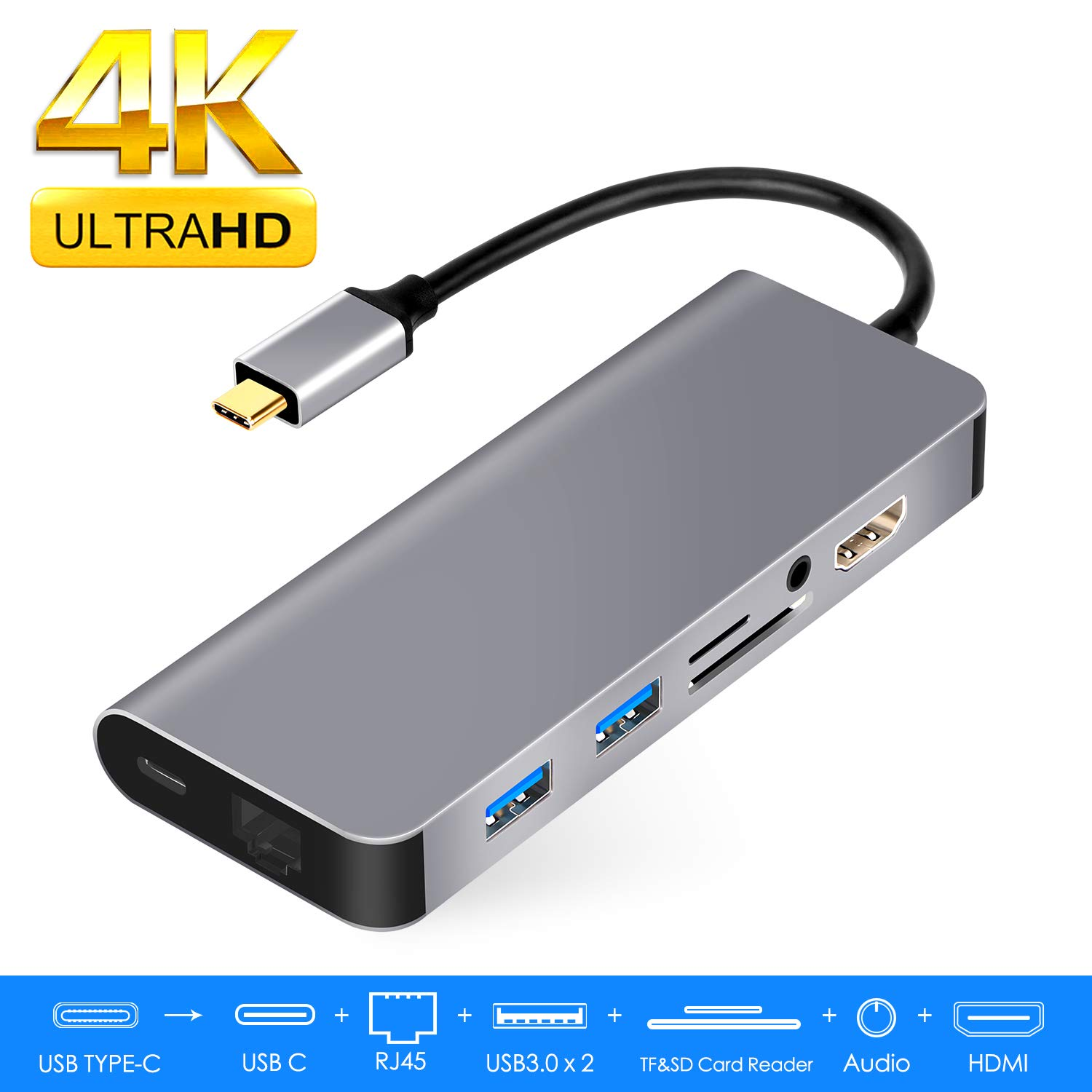 USB C Hub,WU-MINGLU 8 in 1 Type C Hub Adapter with 4K HDMI,Gigabit Ethernet,USB-C Power Delivery,3.5mm Audio,2 USB 3.0 Ports, SD/TF Card Reader, Portable for MacBook Pro Nintendo Switch,USB C Devices