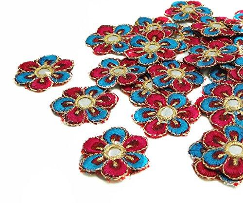 Rosa de las lentejuelas del espejo Apliques Pequeño bordado Costura de adornos Craft 12 Piezas