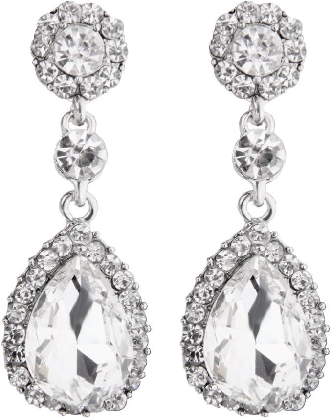 Harilla Pendientes Nupciales de La Boda de La Gota de La Lágrima del Diamante del Diamante de Imitación del Brillo del Lujo Que Cuelga - Claro