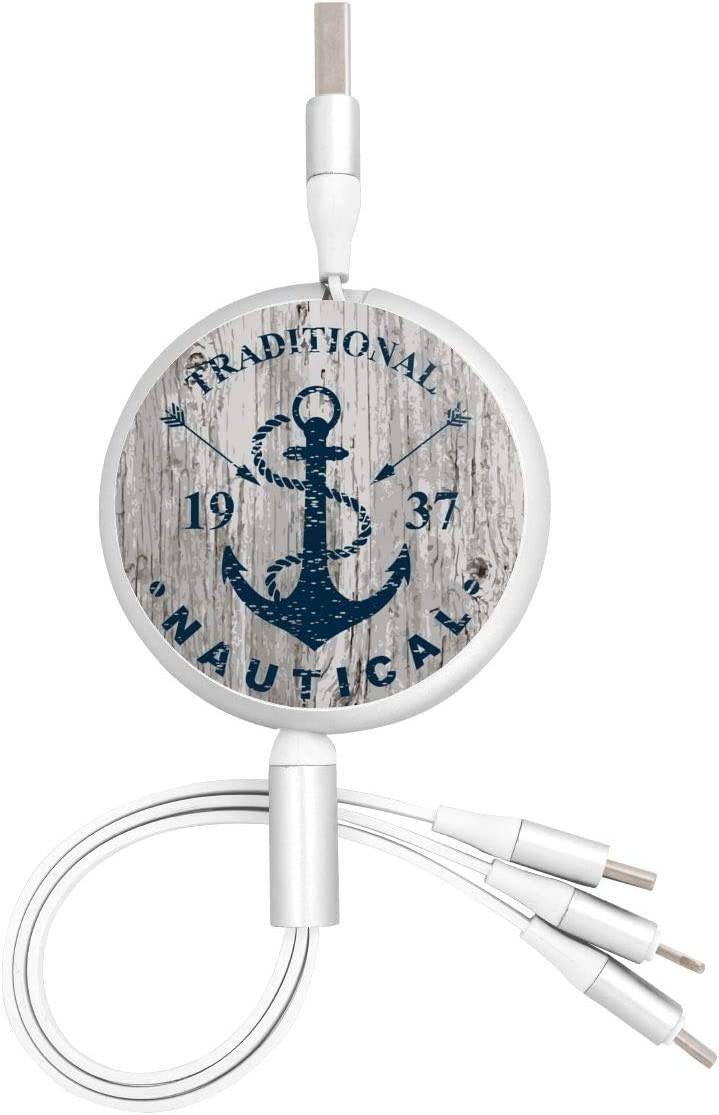 Nautical Marine Badge Design 3 in 1 USB Multi Function Charging Cable Data Transmission USB Cable for Mobile Phones and Tablets Compatible with Various Models with Storage Bag