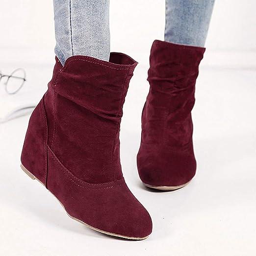 Botas Cortas aumentadas cuñas con Botas Casuales Retro Botas Desnudas LILICAT❋ Aumentar Dentro de Las Botas Botines Cuña Botas Casuales Zapatos de Bota con ...
