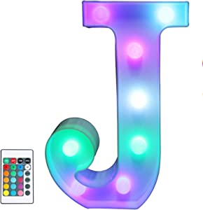 Colorful LED Marquee Letter Lights with Remote – Light Up Marquee Signs – Party Bar Letters with Lights Decorations for the Home - Multicolor J