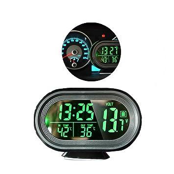 Amazon.es: enshey coche multifunción termómetro reloj con retroiluminación verde - Temperatura, reloj digital, para batería (calibre voltímetro