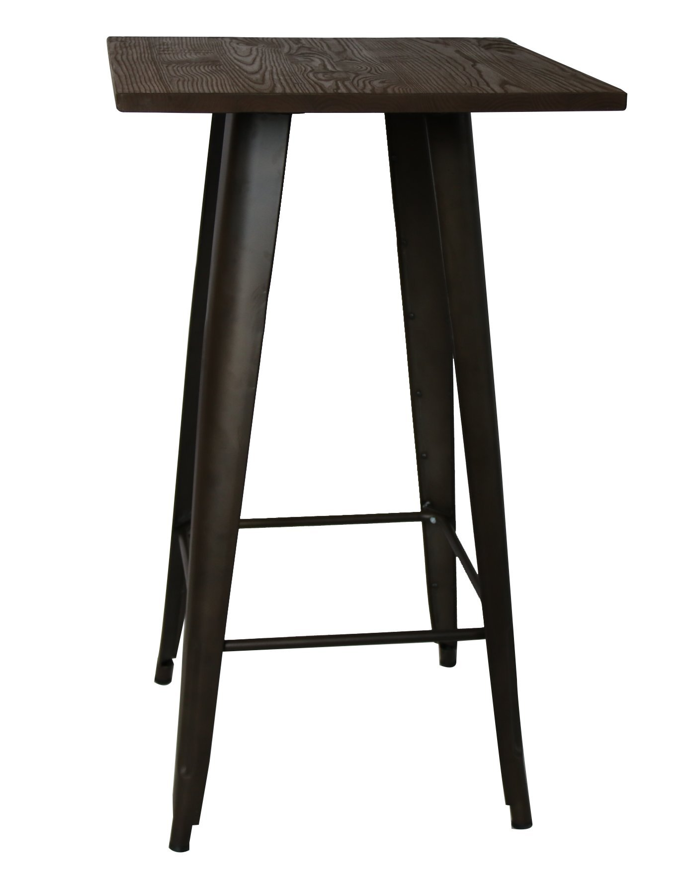 BTEXPERT Industrial Antique Copper Bronze Distressed Rustic Steel Metal Dining Table with Wood Top, Restaurant